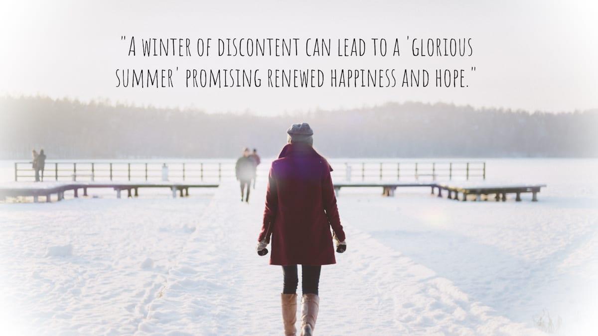 Woman on pier in winter
